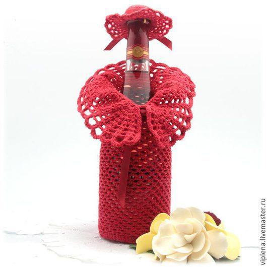 Подарочное оформление бутылок ручной работы. Ярмарка Мастеров - ручная работа. Купить Вязаный декор для бутылок The lady in the red. Handmade.