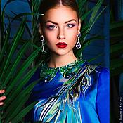 Одежда ручной работы. Ярмарка Мастеров - ручная работа Шелковое платье батик Восточная птица. Handmade.