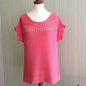 Одежда ручной работы. Ярмарка Мастеров - ручная работа Коралловая летняя блузка с ажурной дорожкой. Handmade.