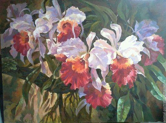 Картины цветов ручной работы. Ярмарка Мастеров - ручная работа. Купить Тропические Орхидеи. Handmade. Цветы, орхидеи, тропики, масло