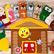 Кукольный театр ручной работы. Ярмарка Мастеров - ручная работа Кукольный театр из фетра,пальчиковые игрушки - герои из трех сказок. Handmade.