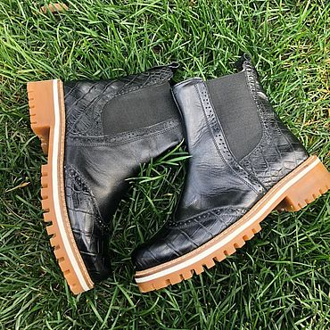 Обувь ручной работы. Ярмарка Мастеров - ручная работа Челси «черная кожа/чёрный крокодил». Handmade.