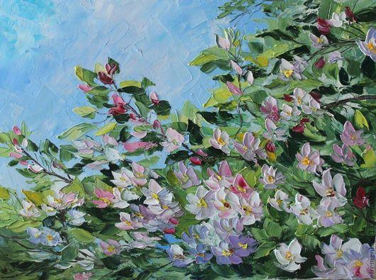 """Картины цветов ручной работы. Ярмарка Мастеров - ручная работа. Купить Картина """"Цветущая вишня"""". Handmade. Розовый, мастихин, вишня"""