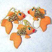 """Подарки к праздникам ручной работы. Ярмарка Мастеров - ручная работа Елочная игрушка """"Золотая рыбка"""". Handmade."""