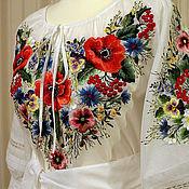 """Одежда ручной работы. Ярмарка Мастеров - ручная работа Блузка детская """"Маки и полевые цветы"""" ручная вышивка гладью. Handmade."""