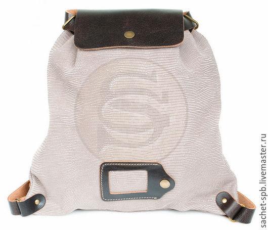 Рюкзаки ручной работы. Ярмарка Мастеров - ручная работа. Купить Светлый кожаный рюкзак Милитари. Handmade. Светлый кожаный рюкзак