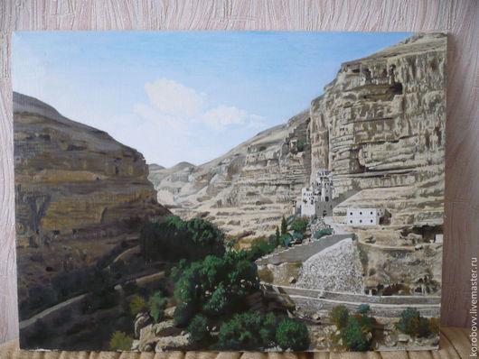 Пейзаж ручной работы. Ярмарка Мастеров - ручная работа. Купить картина. Монастырь в Иордании.. Handmade. Бежевый, святая земля