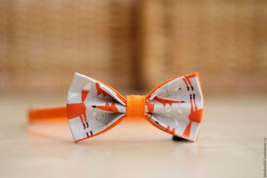 """Галстуки, бабочки ручной работы. Ярмарка Мастеров - ручная работа. Купить Бабочка с принтом """"лисы"""" детская/взрослая. Handmade. Оранжевый, Лисы"""