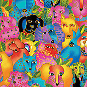 Материалы для творчества ручной работы. Ярмарка Мастеров - ручная работа Радужные собаки Лорел Берч ткань. Handmade.