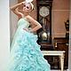 Одежда и аксессуары ручной работы. Ярмарка Мастеров - ручная работа. Купить Бирюзовое свадебное платье MIRABELLE LUXE со шлейфом из воланов. Handmade.