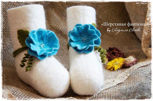 """Детская обувь ручной работы. Ярмарка Мастеров - ручная работа. Купить Валеночки """"Для маленькой феи"""". Handmade. Белый"""