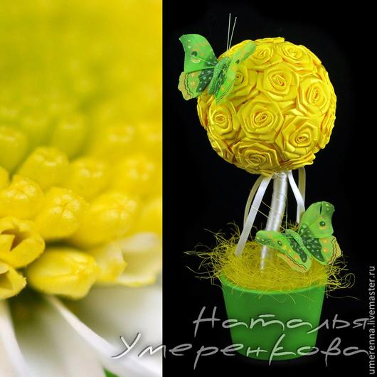 """Топиарии ручной работы. Ярмарка Мастеров - ручная работа. Купить Топиарий """"Солнечный"""". Handmade. Желтый, позитив, цветы из лент, подарок"""
