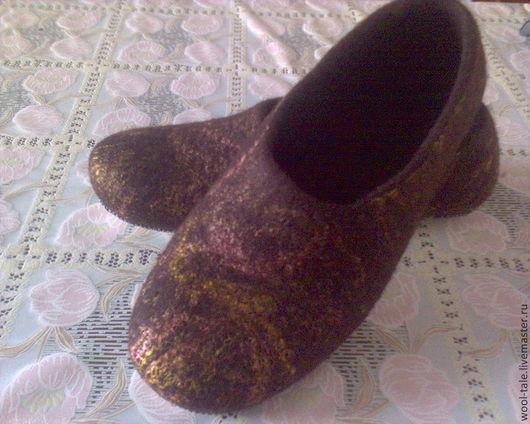 Обувь ручной работы. Ярмарка Мастеров - ручная работа. Купить Валяные тапочки. Handmade. Комбинированный, валяные тапочки, натуральная кожа