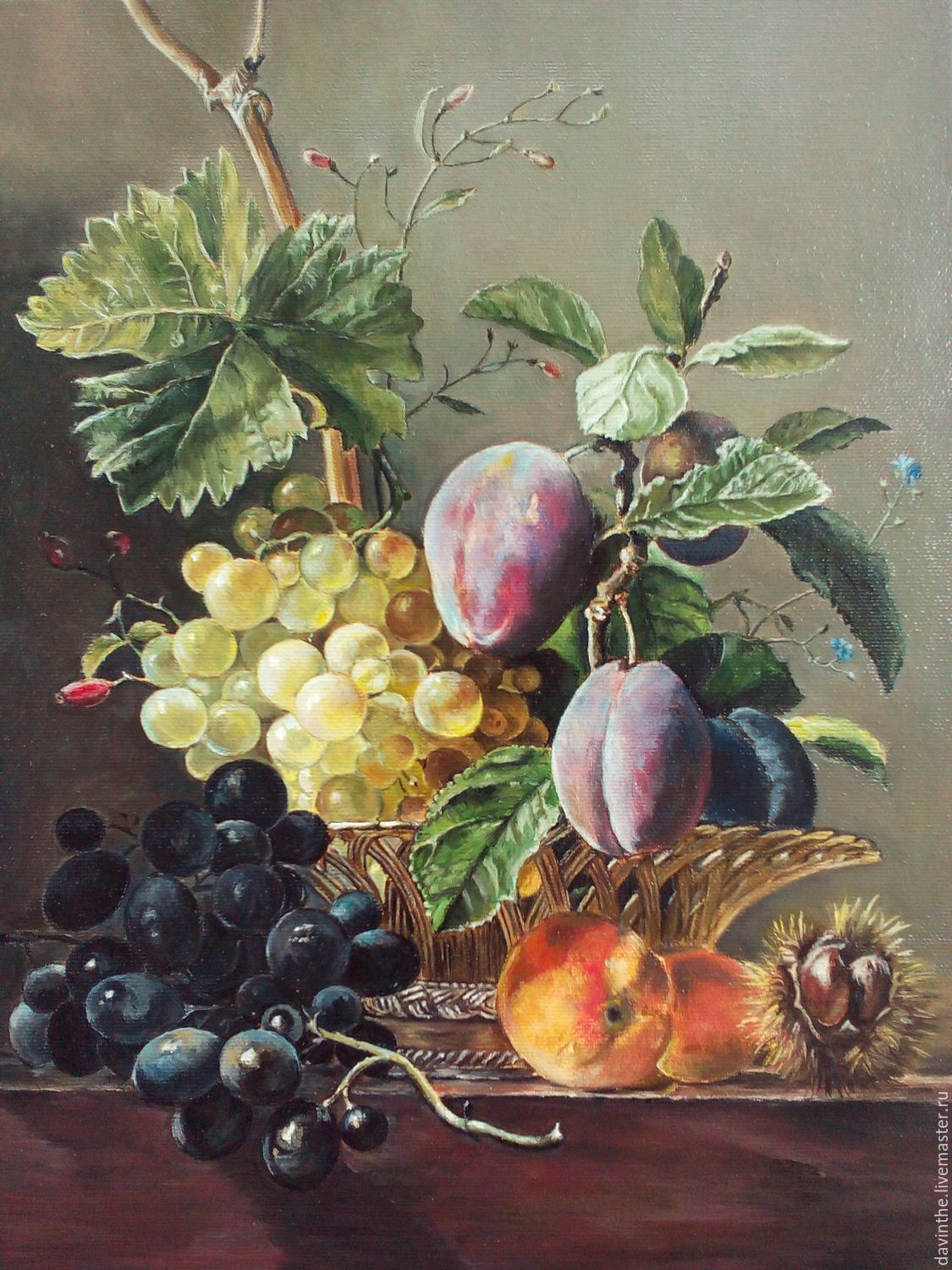 Oil Painting Still life with grapes and plums ( copy), Pictures, Athens,  Фото №1