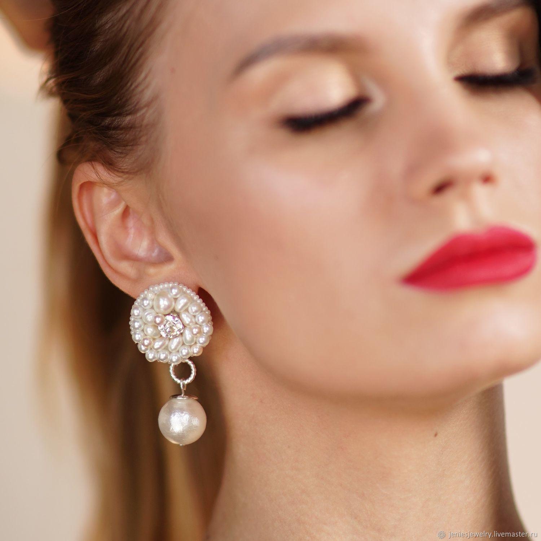 Stud earrings with pendants made of pearls, handmade embroidery, Earrings, Tomsk,  Фото №1