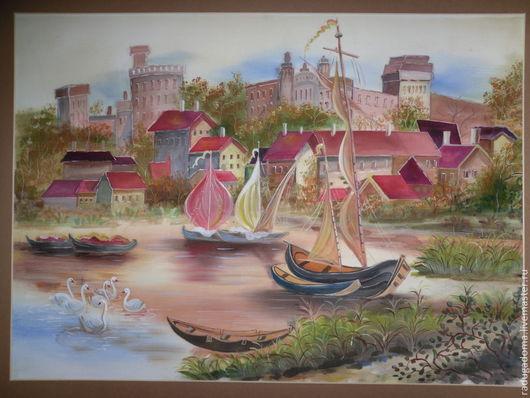 Город ручной работы. Ярмарка Мастеров - ручная работа. Купить Картина пейзаж акварель. Красные крыши. Handmade. Бежевый, красный
