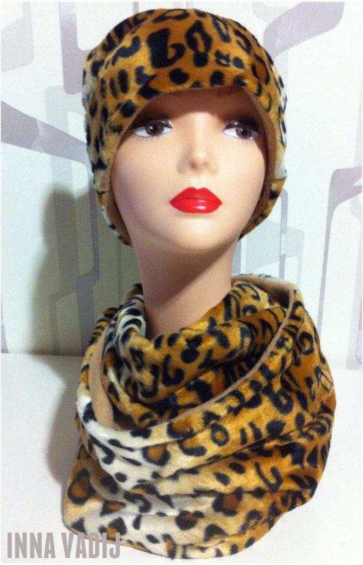 """Шапки ручной работы. Ярмарка Мастеров - ручная работа. Купить Теплый комплект """"Леопард"""". Handmade. Комбинированный, шапка, для женщины, флис"""