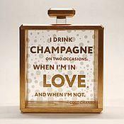 handmade. Livemaster - original item Champagne wine cork shadow box holder collector Coco Chanel 5 fashion. Handmade.