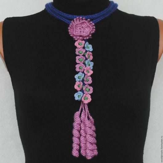 Ручное украшение. Украшение вязаное. Шарф колье. Вязаные бусы. Вязаное изделие.
