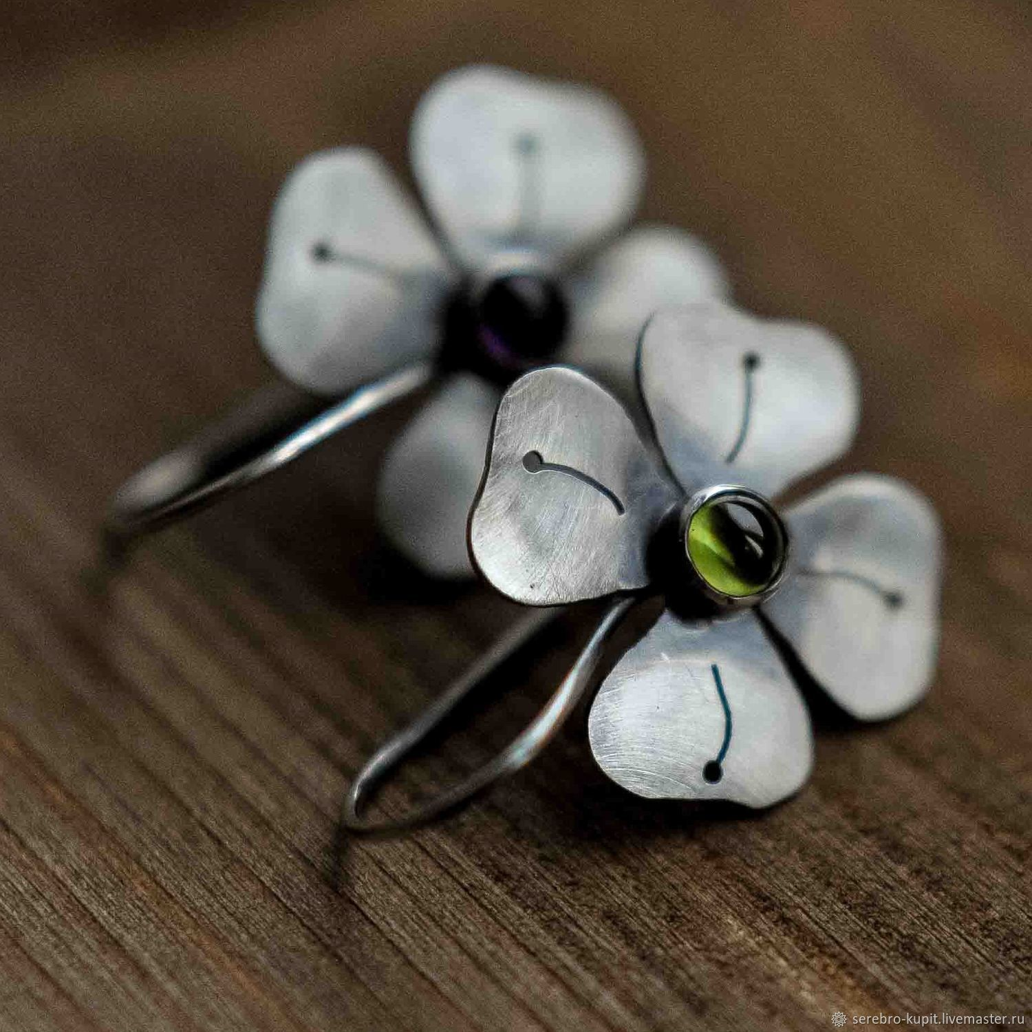 Silver 'Clover' earrings with natural stones, Earrings, St. Petersburg,  Фото №1