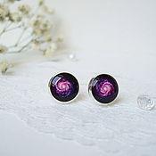 handmade. Livemaster - original item Earring studs 10 mm (studs) universe Space Galaxy Purple. Handmade.