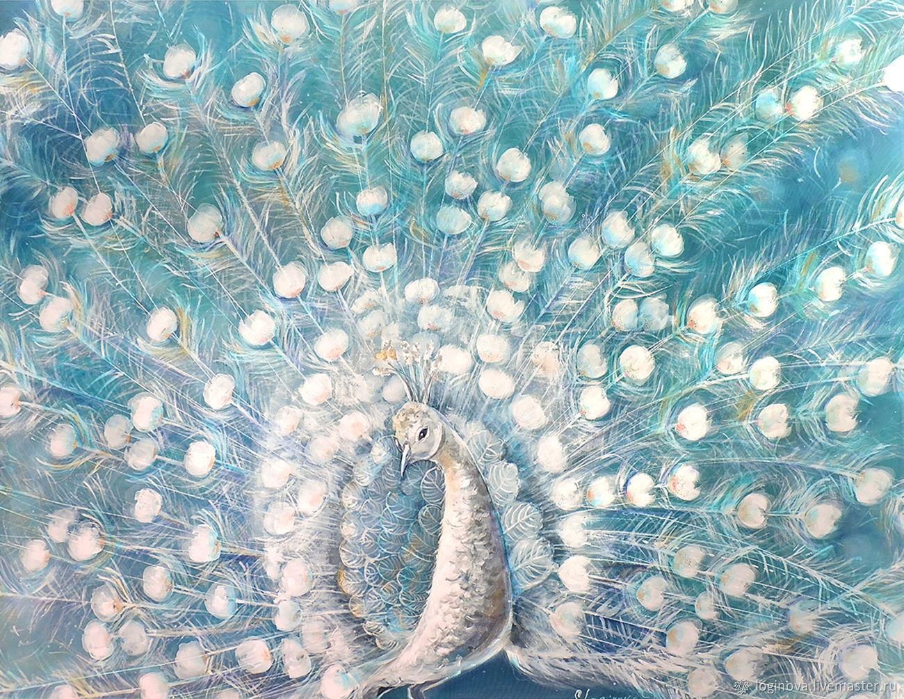 Белый Павлин-картина на шелке, Картины, Находка,  Фото №1