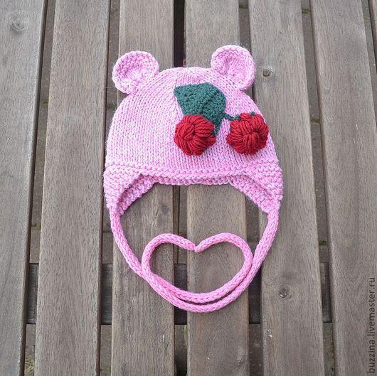 Для новорожденных, ручной работы. Ярмарка Мастеров - ручная работа. Купить Шапочка для новорожденной девочки Мишка с малиной шапочка на выписку. Handmade.