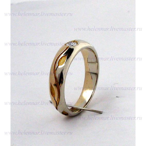 Кольцо обручальное с бриллиантом, биметаллическое, женское