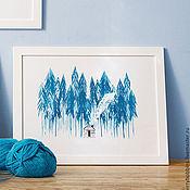 Картины и панно ручной работы. Ярмарка Мастеров - ручная работа Интерьерный постер «Домик в лесу». Handmade.