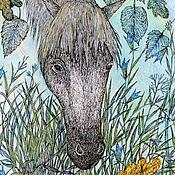 Картины ручной работы. Ярмарка Мастеров - ручная работа Принт Нежность. Белая лошадь и лесные колокольчики. Авторская картина. Handmade.