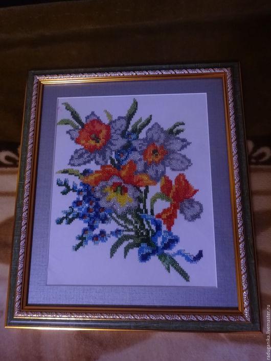 Картины цветов ручной работы. Ярмарка Мастеров - ручная работа. Купить Весенний букет.. Handmade. Оранжевый, паспарту