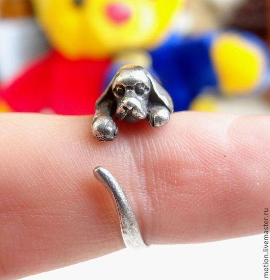 Кольца ручной работы. Ярмарка Мастеров - ручная работа. Купить Серебряное Кольцо Щенок, ручная работа из серии животные. Handmade.