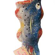 Сувениры и подарки ручной работы. Ярмарка Мастеров - ручная работа Валяный футляр-щука для хранения различных мелочей. Handmade.