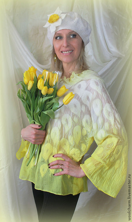 Блузки ручной работы. Ярмарка Мастеров - ручная работа. Купить Валяная блузка Солнечное настроение. Handmade. Лимонный, лимонно-желтый