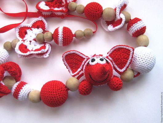 """Слингобусы ручной работы. Ярмарка Мастеров - ручная работа. Купить Вязаные слингобусы с игрушкой """"Слон и бабочки"""" красные с белым. Handmade."""