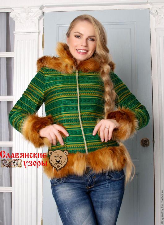 Верхняя одежда ручной работы. Ярмарка Мастеров - ручная работа. Купить Куртка с орнаментами. Handmade. Зеленый, душегрея, куртка из ткани