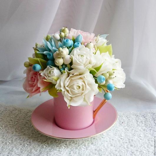 """Букеты ручной работы. Ярмарка Мастеров - ручная работа. Купить Чашечка """"Голубика с розовым"""". Handmade. Голубой, полимерная глина"""