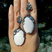 Украшения handmade. Livemaster - original item Earrings silver with natural stone. Earrings with kaholongs.. Handmade.