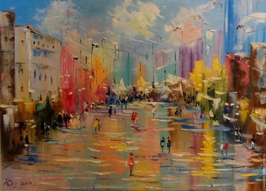 Город ручной работы. Ярмарка Мастеров - ручная работа. Купить Город после дождя. Handmade. Желтый, картина, Живопись, интерьер