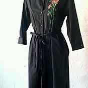 Одежда handmade. Livemaster - original item Vestido-camisa de algodón con pintura de mano