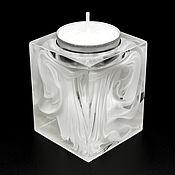 Подсвечники ручной работы. Ярмарка Мастеров - ручная работа Белый полупрозрачный подсвечник из эпоксидной смолы с эффектом дыма. Handmade.