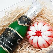 Косметика ручной работы. Ярмарка Мастеров - ручная работа Подарок к новому году шампанское и мандарин. Handmade.