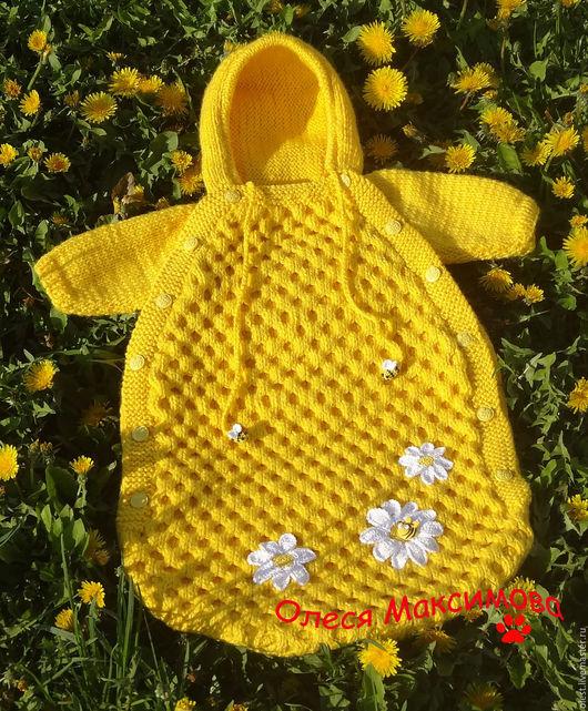 Для новорожденных, ручной работы. Ярмарка Мастеров - ручная работа. Купить Конверт для новорожденного Медовый. Handmade. Однотонный, пчелы