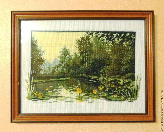 """Пейзаж ручной работы. Ярмарка Мастеров - ручная работа. Купить Вышивка крестиком """"Болото в лесу"""". Handmade. Картина вышитая"""
