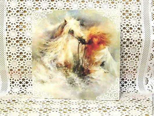 Репродукции ручной работы. Ярмарка Мастеров - ручная работа. Купить Панно малое настенное  «Она с конем». Handmade. Комбинированный, любимой