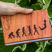 Канцелярские товары ручной работы. Ярмарка Мастеров - ручная работа Блокнот с деревянной обложкой и коптским переплетом - Маленький. Handmade.