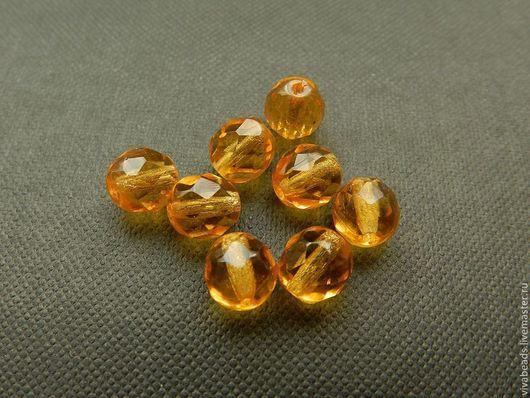 Чешские граненые бусины, диаметром 8 мм, отверстие ок. 1 мм, цвет СВЕТЛЫЙ ТОПАЗ (арт. 1194)