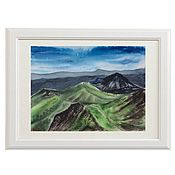 Картины и панно handmade. Livemaster - original item Watercolor Green hills. Handmade.