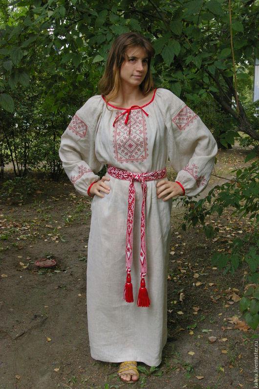 """Одежда ручной работы. Ярмарка Мастеров - ручная работа. Купить Платье-рубаха""""Традиция"""". Handmade. Серый, платье в пол, вышивка крестиком"""