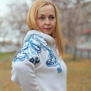 """Одежда ручной работы. Ярмарка Мастеров - ручная работа Теплая куртка """"Гжель"""". Handmade."""